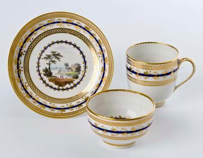 tea cup, coffee cup and saucer; A1228