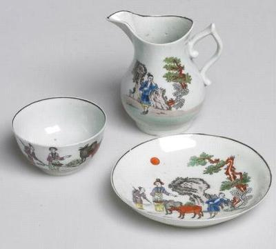 bowl tea, saucer, cream jug