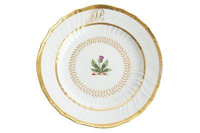 plate, dessert, armorial